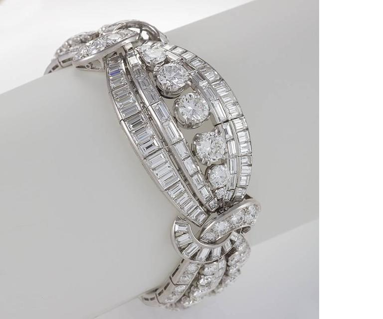 Mellerio dits Meller Retro Diamond and Platinum Bracelet 2