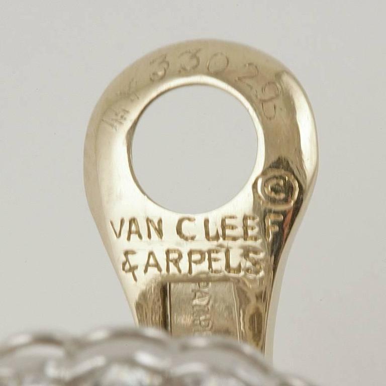 Van Cleef & Arpels Late-20th Century Diamond, Platinum and Gold Earrings 2