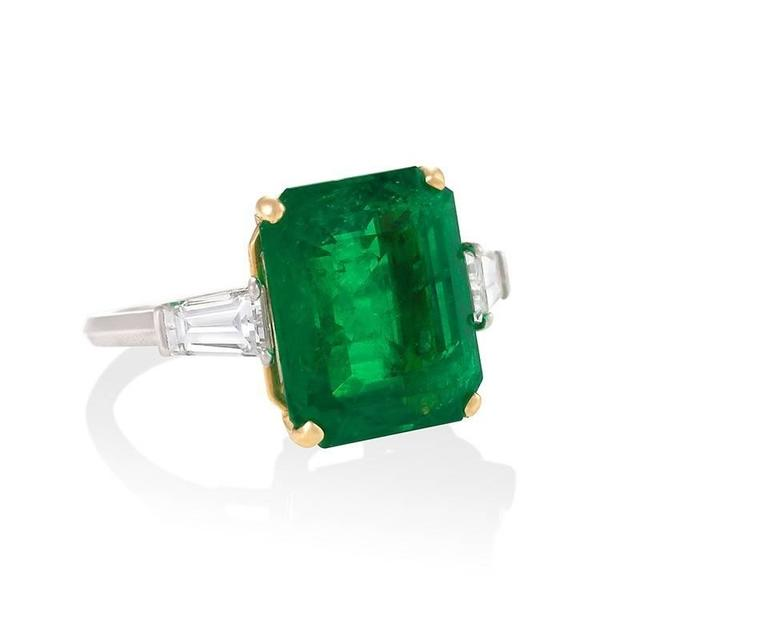 Emerald Cut Colombian Emerald and Diamond Ring  For Sale