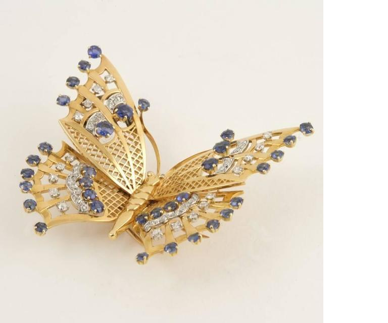 Mauboussin Paris 1930's Art Deco Sapphire Diamond Gold Butterfly Brooch 2
