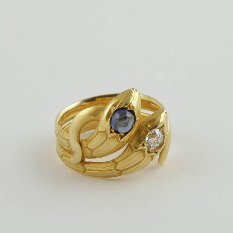 French art nouveau diamond sapphire and gold serpent ring for The triumph of love jewelry 1530 1930