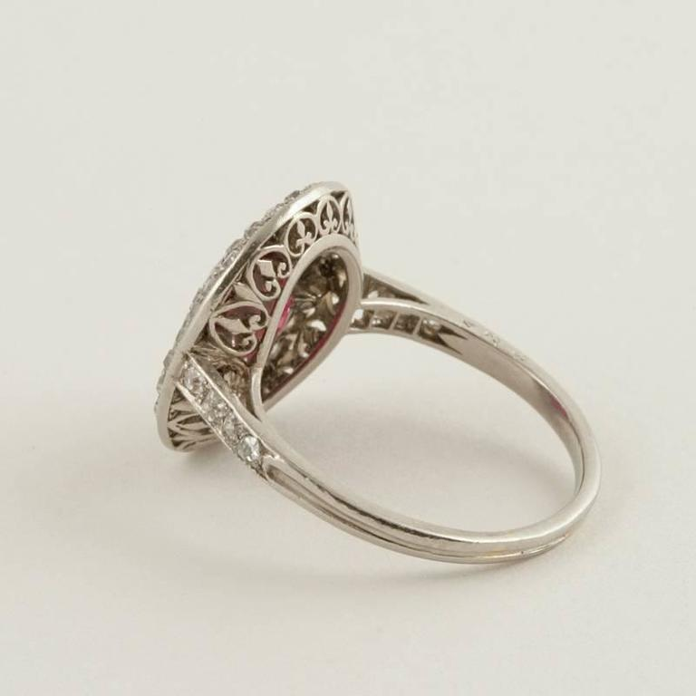 Women's Art Deco Burma Ruby, Diamond and Platinum Ring For Sale