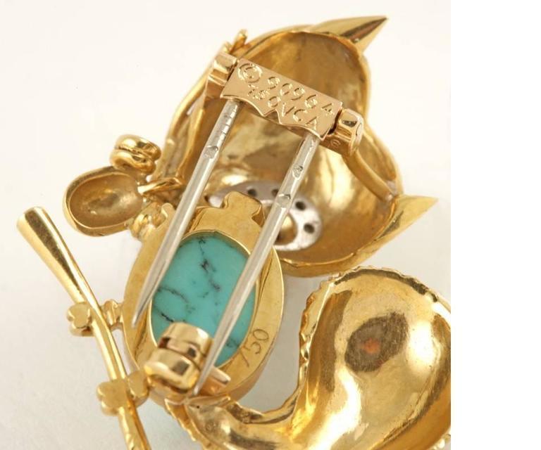 Women's Van Cleef & Arpels Paris Turquoise, Ruby, Diamond, Gold Squirrel Brooch For Sale