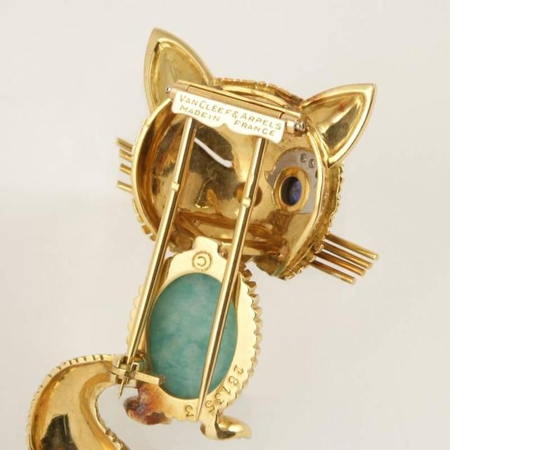 Van Cleef & Arpels Paris Turquoise, Diamond, Blue Sapphire and Gold Cat Brooch 2