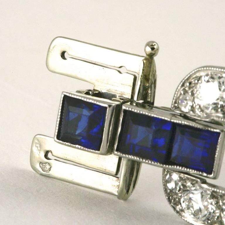 French 1930s Art Deco Sapphire Diamond Gold Platinum Link Bracelet For Sale 2