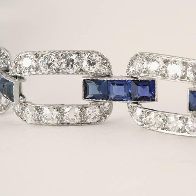 French 1930s Art Deco Sapphire Diamond Gold Platinum Link Bracelet For Sale 1