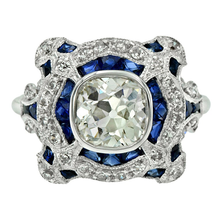 GIA Certified 1.52 Carat Diamond Blue Sapphire Engagement Ring