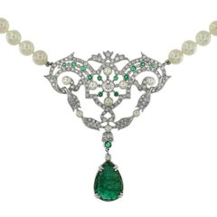 Carved Emerald 11.37 Carat Akoya Pearl Diamond Drop Necklace