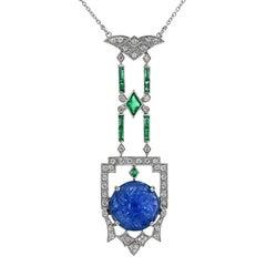 10.2 Carat Burmese Carved Blue Sapphire Emerald Diamond Pendant