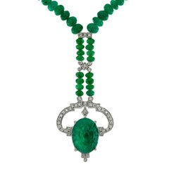 Carved Colombian Emerald 13.32 Carat Diamond Emerald Beads Drop Necklace