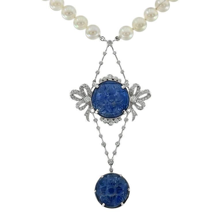 Carved Burmese Blue Sapphire 17.10 Carat Akoya Pearl Diamond Drop Necklace