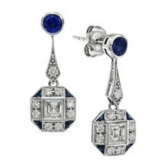 Ceylon Sapphire Diamond Drop Earrings