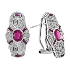 Ruby Diamond Clip-On Earrings