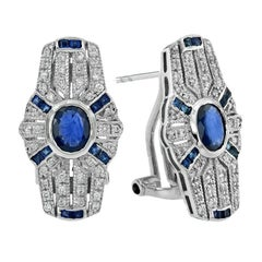 Blue Sapphire Diamond Clip-On Earrings