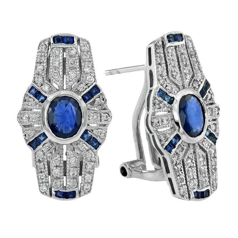 Blue Sapphire Diamond Clip-On Earrings