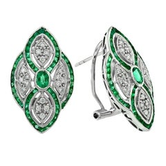 Emerald Diamond Clip-On Earrings