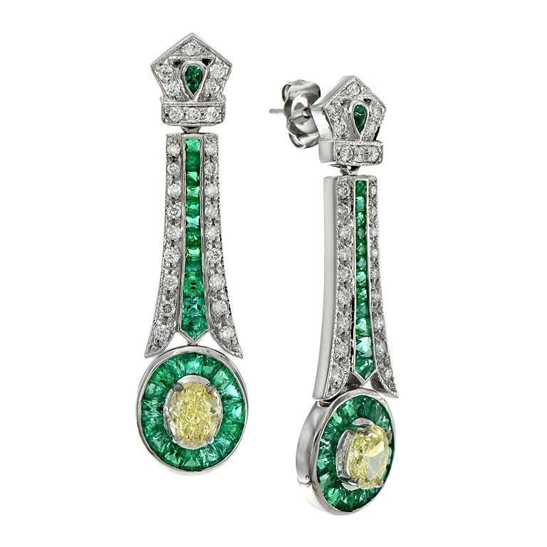 GIA Certified 1.22 Carat Natural Fancy Yellow Diamond Emerald Drop Earring