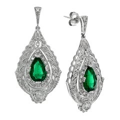 Certified Zambian Emerald 3.3 Carat Diamond Drop Earrings