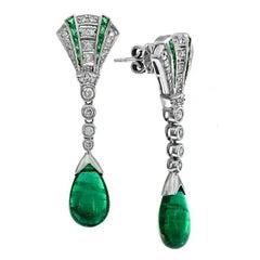 Natural Emerald Diamond Drop Earrings