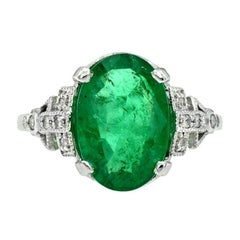 Zambian Emerald 3.83 Carat with Diamond Cocktail Ring