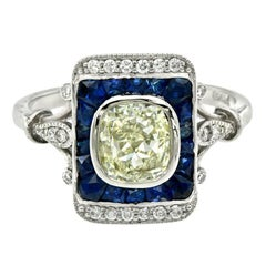 Cushion Cut Fancy Diamond French Cut Blue Sapphire Cocktail Ring