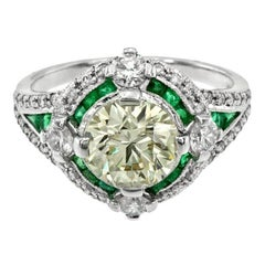 Certified Diamond 2.01 Carat Diamond Emerald Engagement Ring