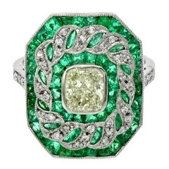 GIA Certified 1.01 Carat Diamond Emerald Cocktail Ring