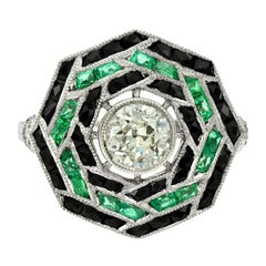 0.71 Carat Brilliant Cut Diamond Emerald and Onyx Cocktail Ring
