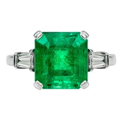 Certified 4.085 Carat Colombian Emerald Diamond Cocktail Ring