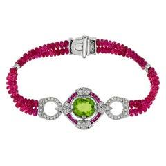 Peridot Ruby Diamond Bead Bracelet