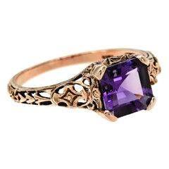 10 Karat Rose Gold Amethyst Filigree Ring