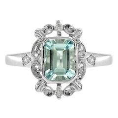 Aquamarine Diamond 10 Karat White Gold Cocktail Ring