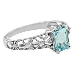 10 Karat White Gold Aquamarine Filigree Ring