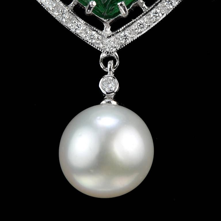 Carved Colombian Emerald 13.70 Carat Akoya Pearl Diamond Drop Necklace For Sale 2