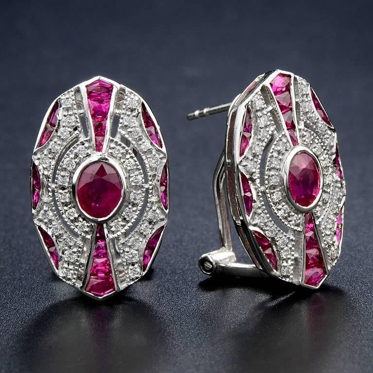 Art Deco Ruby Diamond Clip-On Earrings For Sale