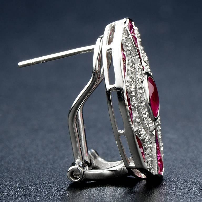 Oval Cut Ruby Diamond Clip-On Earrings For Sale
