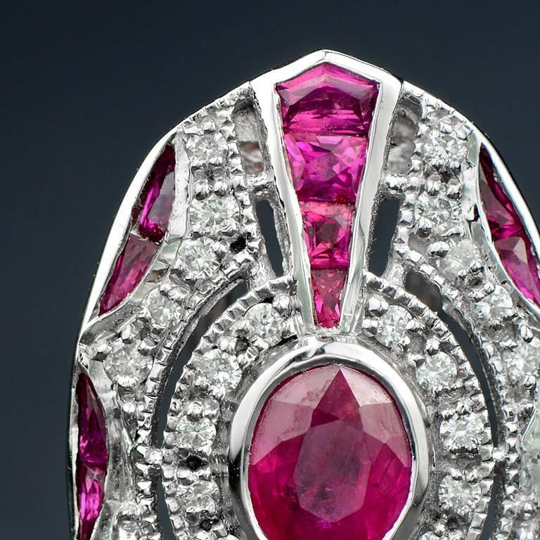 Women's Ruby Diamond Clip-On Earrings For Sale