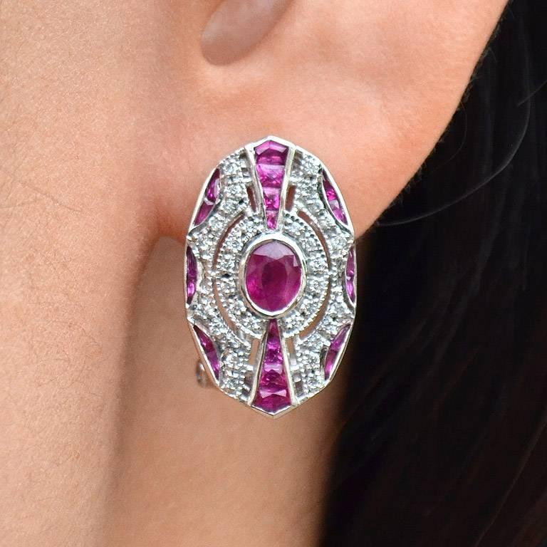 Ruby Diamond Clip-On Earrings For Sale 2