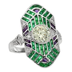 GIA Certified 0.90 Carat Diamond Emerald Amethyst Platinum Cocktail Ring