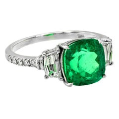 GRS Certified 2.93 Carat Colombian Emerald Diamond Engagement Ring
