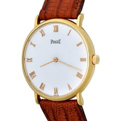 Piaget Yellow Gold Manual Wristwatch with Dark Brown Strap