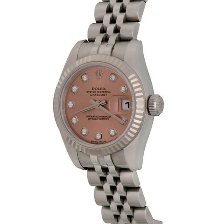 Rolex Ladies Stainless Steel Rose Dial Datejust Wristwatch Ref 179174