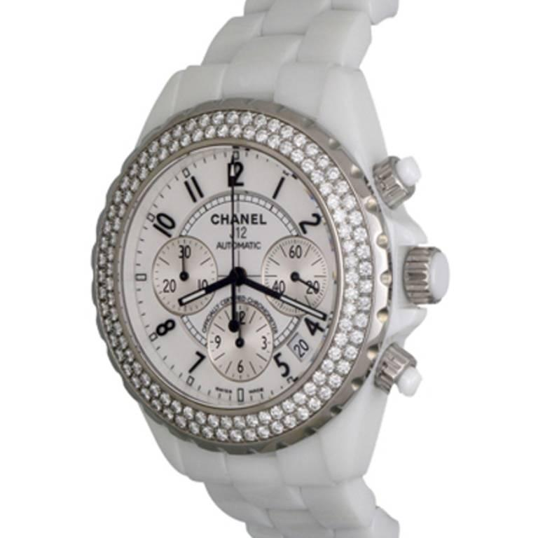 Chanel White Ceramic J12 Chronograph Automatic Wristwatch Ref H1008