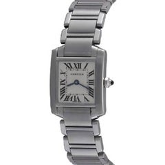 Cartier Ladies Stainless Steel Tank Francaise Quartz Wristwatch Ref W51008Q3