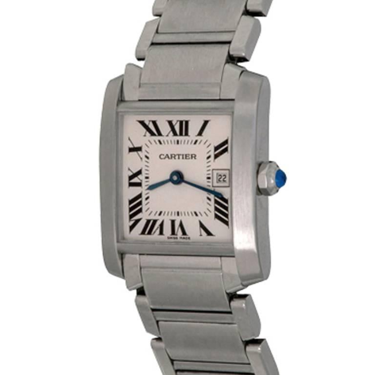 Cartier Stainless Steel Midsize Tank Francaise Quartz Wristwatch