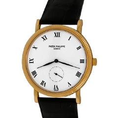 Patek Philippe Yellow Gold White Dial Calatrava Wristwatch