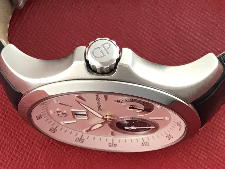 Girard Perregaux stainless steel Traveller Moonphase Automatic Wristwatch  In New Condition For Sale In Dallas, TX