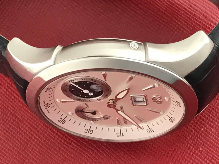 Women's or Men's Girard Perregaux stainless steel Traveller Moonphase Automatic Wristwatch  For Sale