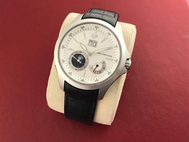 Contemporary Girard Perregaux stainless steel Traveller Moonphase Automatic Wristwatch  For Sale