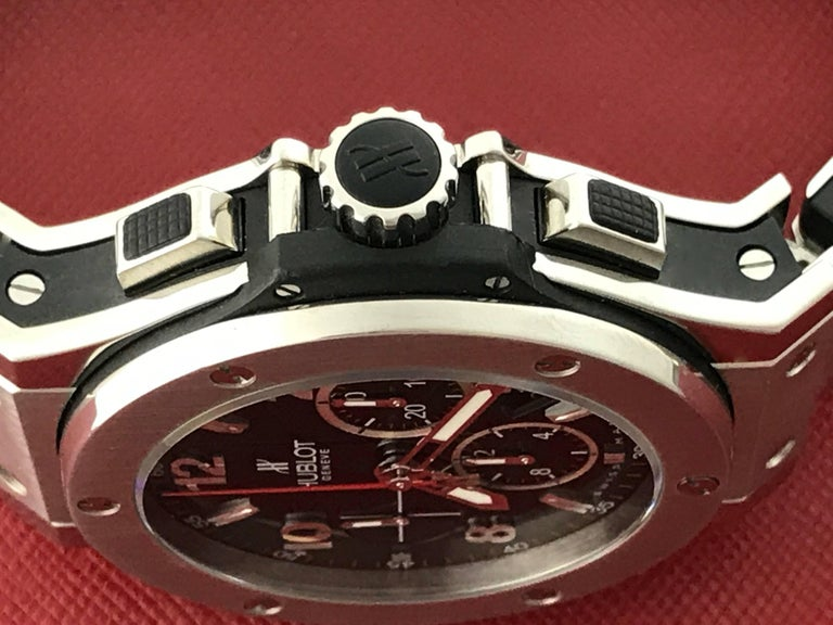 Hublot Stainless Steel Big Bang Chronograph Automatic Wristwatch In Excellent Condition For Sale In Dallas, TX